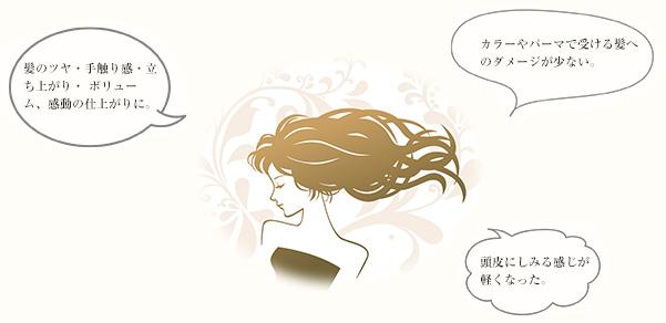 髪のツヤ・手触り感・立ち上がり・ボリューム、感動の仕上がりに。カラーやパーマで受ける髪へのダメージが少ない。頭皮にしみる感じが軽くなった。